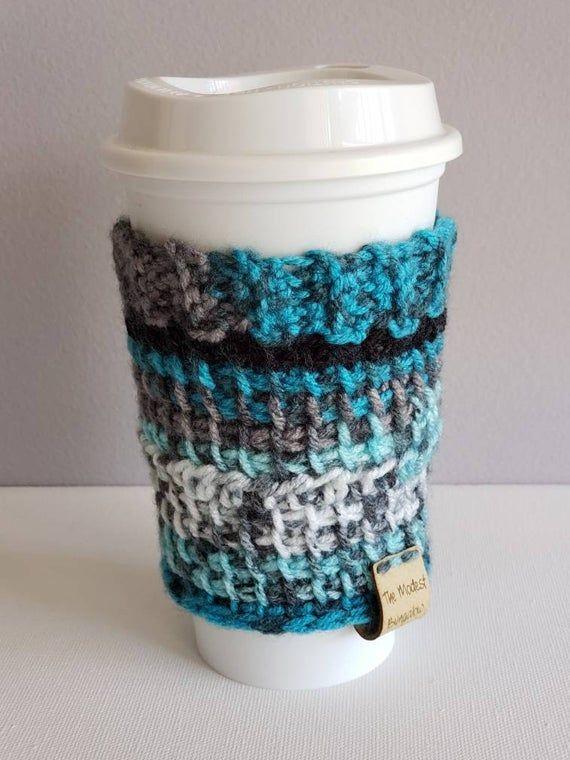 Crochet Cup Cozy Coffee Tea Teal Gray Black Cup Cozy Hot Cup