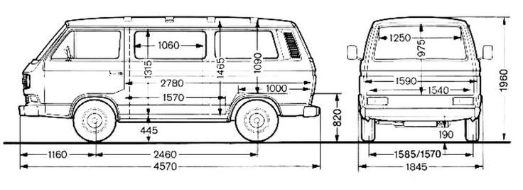 dimensions of vw t25 campervan