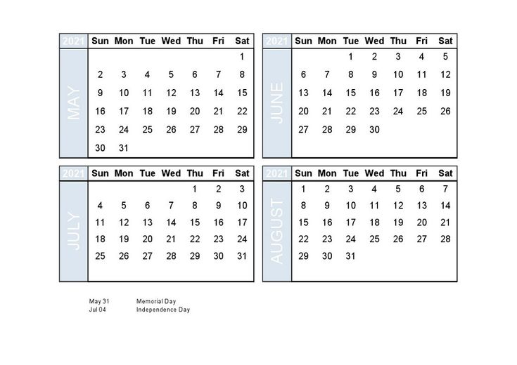 4 month calendar 2021 last free to take download 2020 ...