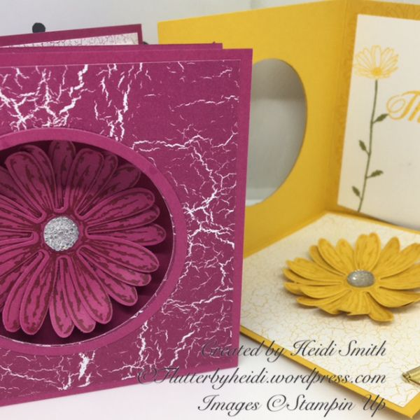 My idea for a corner pop down card with Daisy Delight as a gerbera