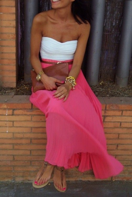 Summer Style Coral maxi skirt and white top