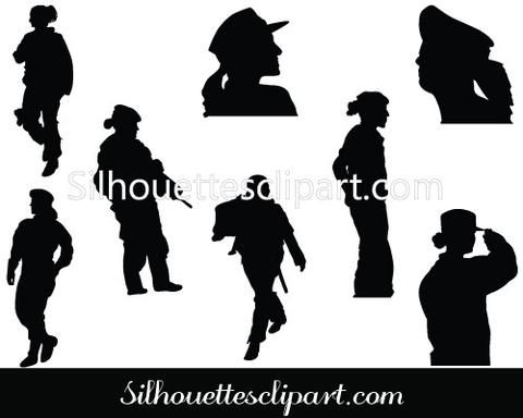 Women Soldier Silhouette Vector