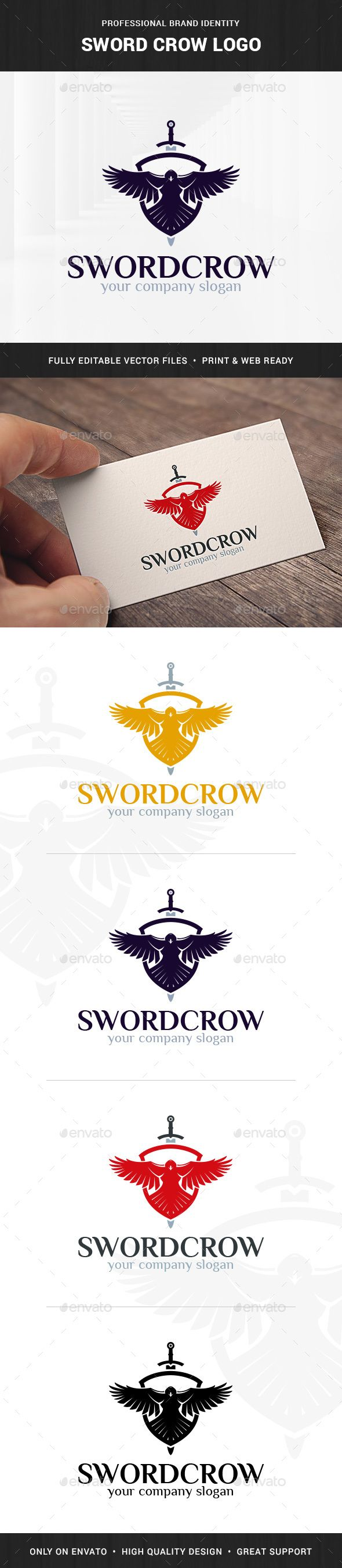 Sword Crow Logo Template - Animals Logo Templates Download here : http://graphicriver.net/item/sword-crow-logo-template/15933238?s_rank=52&ref=Al-fatih