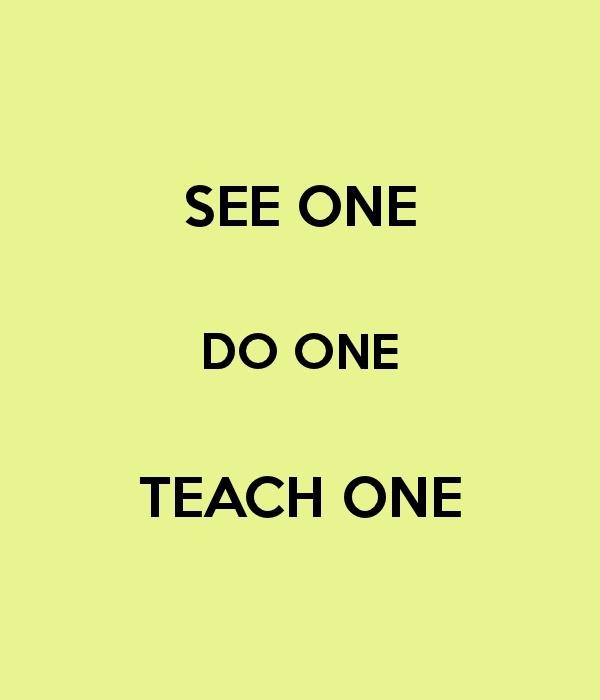 See One.   Do One.  Teach One.