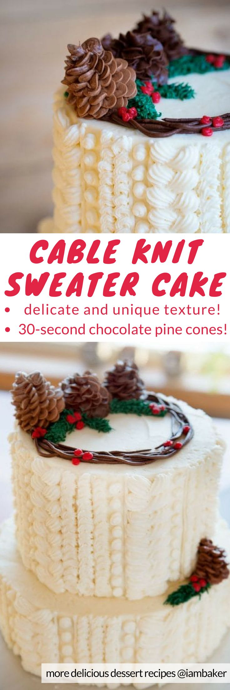 Cable Knit Sweater Cake - by mastering just a few easy piping techniques, you can create this delicious cake! All you need are chocolate cake recipes either made from scratch or box mixes, whipped buttercream for cake decorating and chocolate buttercream for 30-second pine cones!  For more simple and easy dessert recipes to make, check us out at #iambaker. #cakes #desserts #sweettooth #christmasdesserts