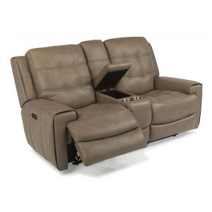 168164PH in by Flexsteel in Plymouth, WI - Wicklow Leather Power Reclining Loveseat with Console and Power Headrests