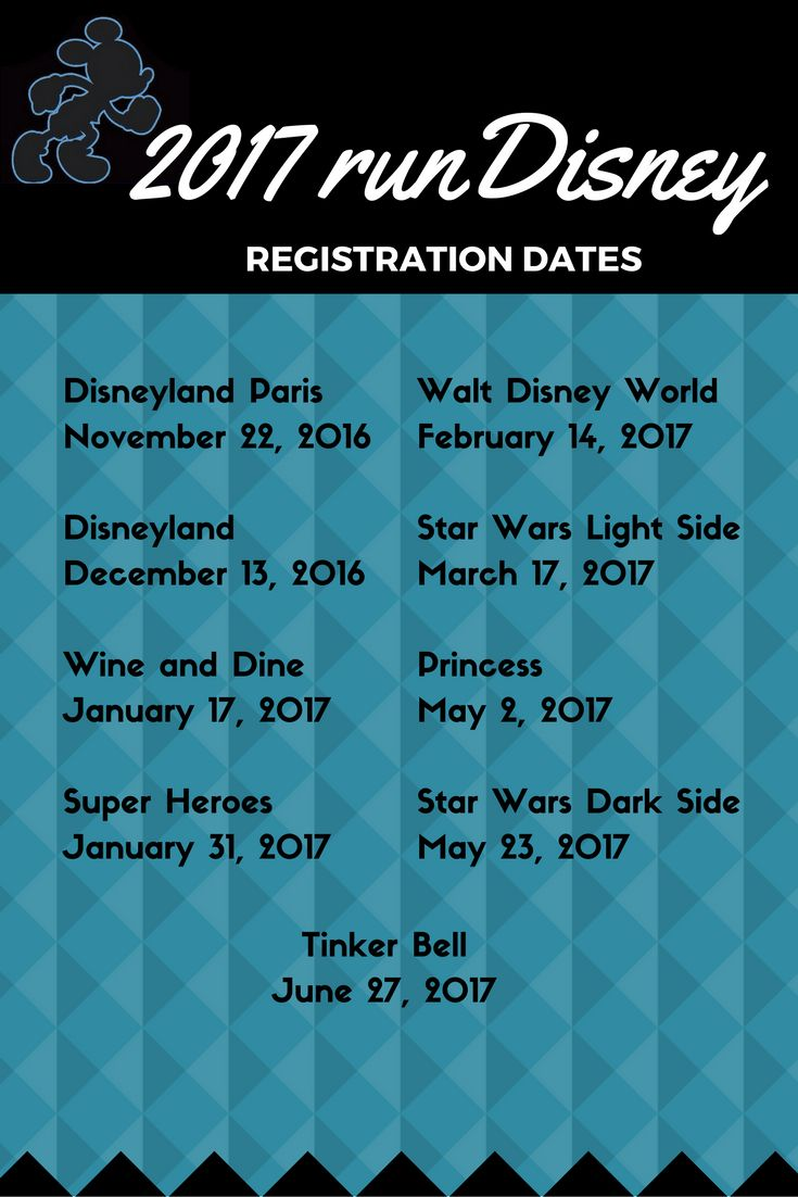 rundisney registration dates for Walt Disney World, Disneyland and Disneyland Paris. running | run | Travel | runcation 2017-2018 runDisney Race Calendar and Registration Dates