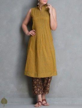 Maroon Natural Dye Tie-Up Waist Straight Cotton Kalamkari Pants by Jaypore
