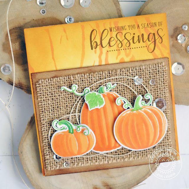 Sunny Studio Stamps: Pretty Pumpkins Burlap Backed Pumpkin Card by Lexa Levana
