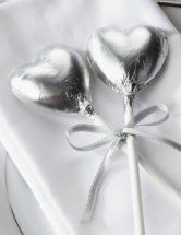 Silver Chocolate Heart Lollipop - silver wedding anniversary table top piece