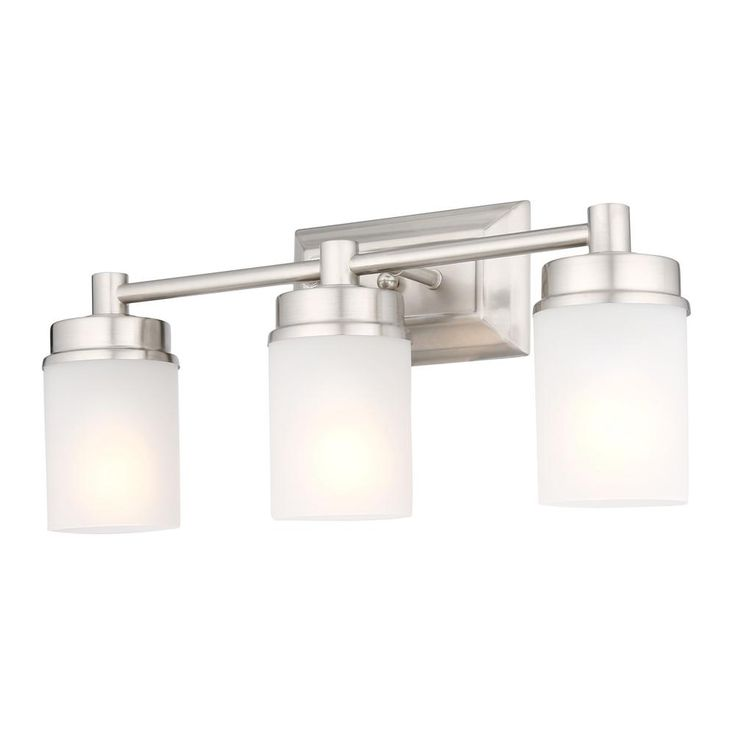 Hampton Bay Cade 3 Light Brushed Nickel Vanity Light With Frosted Glass Shades Nb33307 The Home Depot Vanity Lighting Glass Shades Frosted Glass