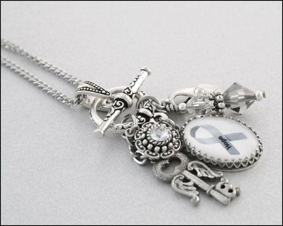Brain Cancer Awareness Charm Necklace - finally a cute brain cancer item!!!!