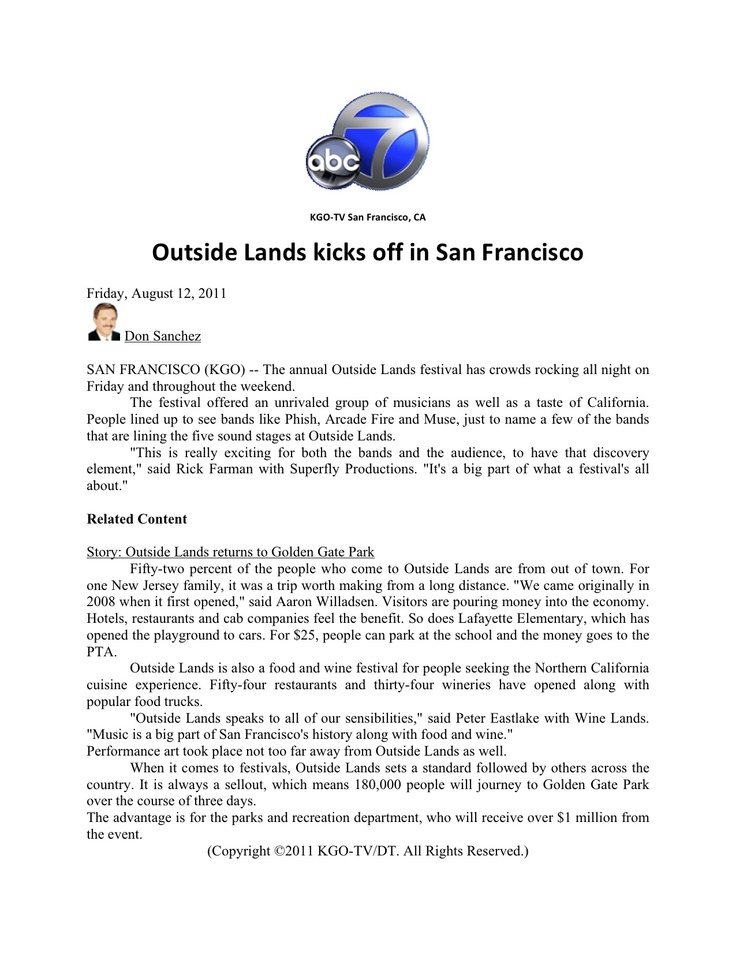 Sf S Abc News 7 Announces Outside Lands Return To Golden Gate Park