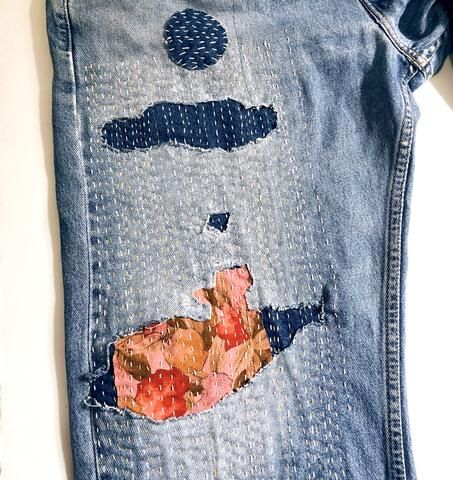 Mending Project: Wide Legged Levi's & Kimono Scraps
