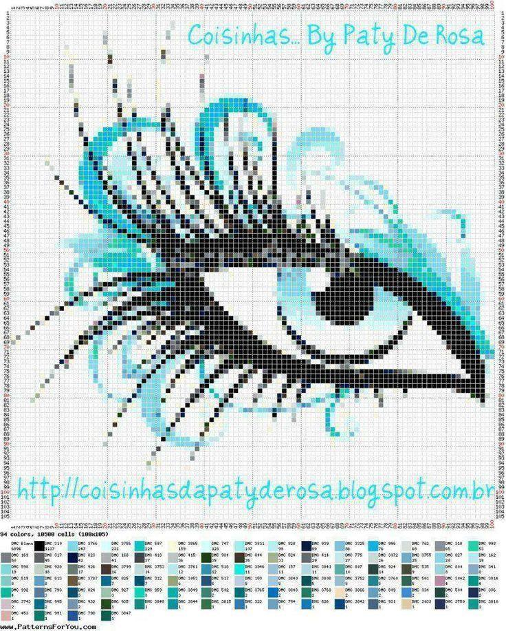 0 point de croix oeil bleu - cross stitch blue eye
