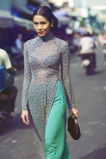 Love the colors and the contrast in the pant of this ao dai!