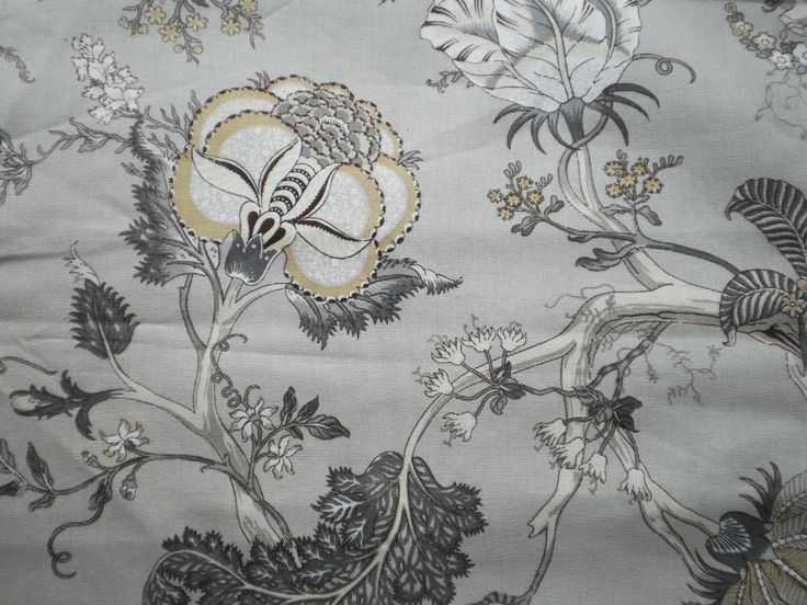 Grey Floral Print Cotton Fabric .  Cotton Fabric  Suitable for curtains and upholstery  Soft texture fabric