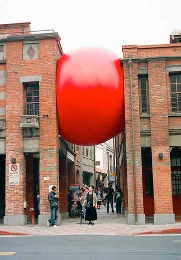 Kurt Perschke - RedBall Project - traveling public art installation has traversed the globe, appearing in many cities.