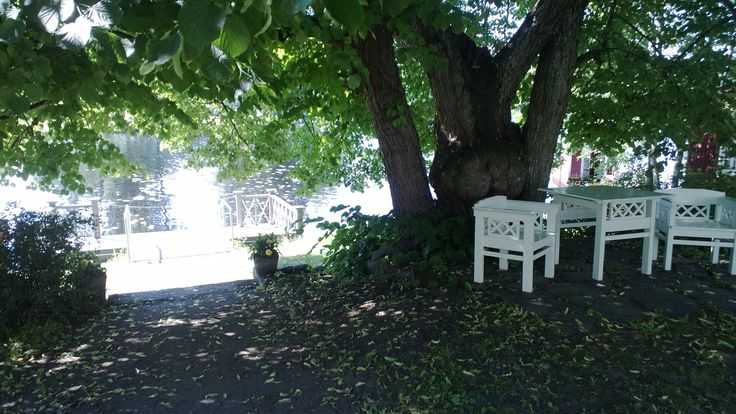 Taidekeskus Salmela, vanhojen puiden varjoa.