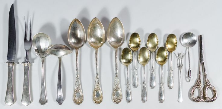"""Lot 113: Sterling and European (.800) Silver Serving Utensil Assortment; Sterling including gravy ladle, (6) ruffle-edged spoons having gold washed bowls, serving spoon, pickle fork and sugar spoon, sterling handled grape shears and carving knife and fork set and (3) 800 silver serving spoons; all marked """"925"""", """"sterling"""" or """"800"""""""