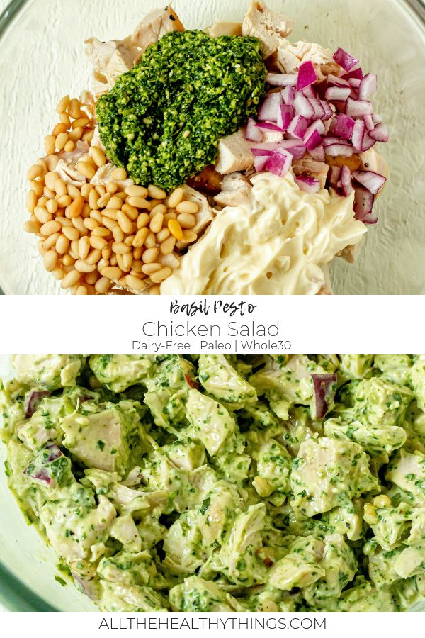 Mar 20, 2020 – Pesto Chicken Salad (Whole30, Paleo, Dairy-Free), #Chicken #chickensaladrecipe #DairyFree #Paleo #Pesto #…