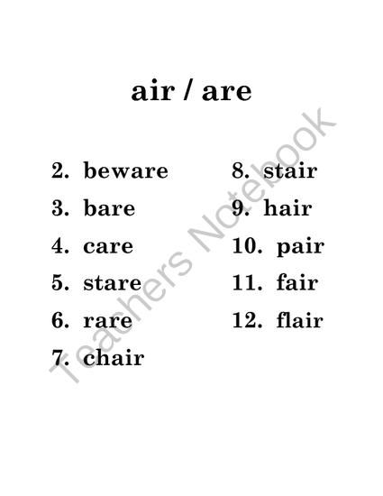 Phonics Packet: air, are, ar from Savvy Second Graders on