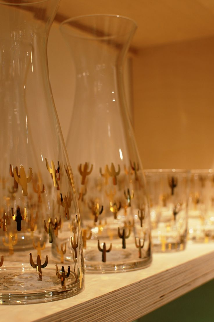 Oliver Bonas Manchester - the perfect gold cactus jugs for your bar cart!
