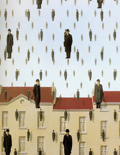 René Magritte - Golconda, 1953. Oil on Canvas. One interpretation is that Magritte is demonstrating the line between individuality and group association, and how it is blurred. All of these men are dressed the same, have the same bodily features and are all floating/falling. This leaves us to look at the men as a group. Whereas if we look at each person, we can predict that they may be completely different to another figure.