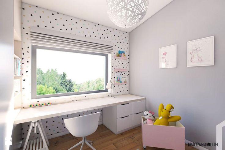 Wnętrza domu w Łodygowicach - Średni pokój dziecka dla dziewczynki dla ucznia…