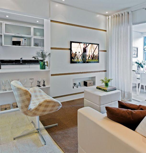 Decoração: Salas Pequenas De Apartamento   Cores Da Casa · Home DecorTv  DecorSmall ApartmentsSmall SpacesSmall RoomsCor NeutraLiving ... Part 85