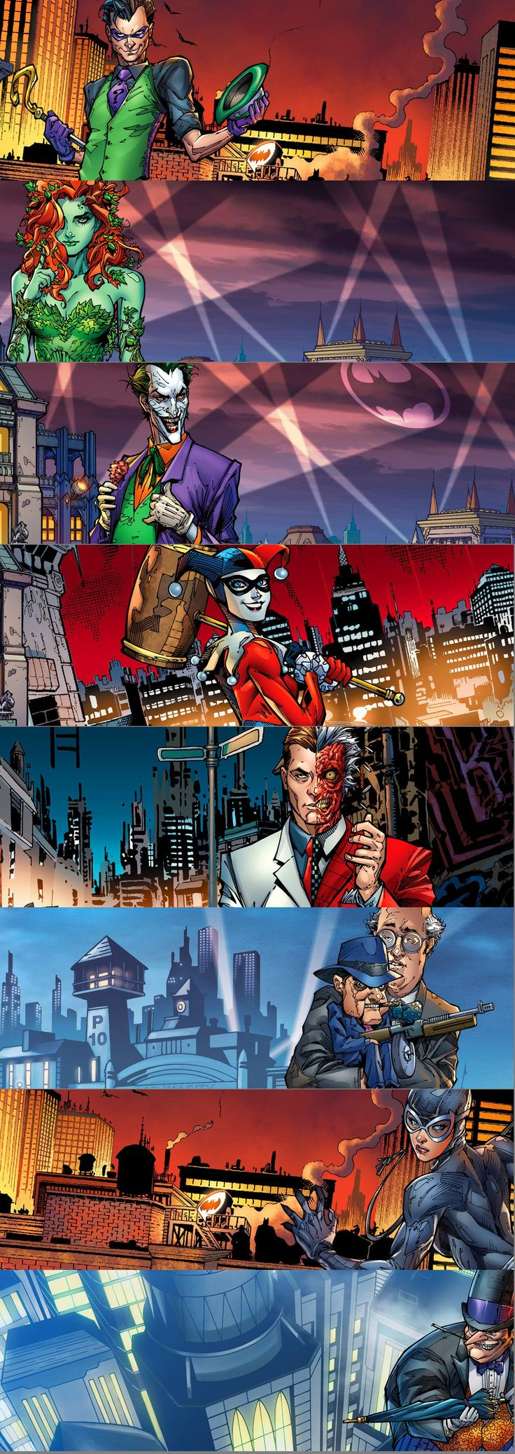 Batman - Riddler, Poison Ivy, Joker, Harley Quinn, Two-Face, Scarface, Catwoman, and Penguin