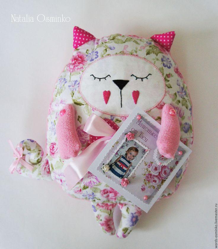 Купить Подушка Кот-сплюшка / подушка-игрушка - розовый, кот-сплюшка, подушка кот