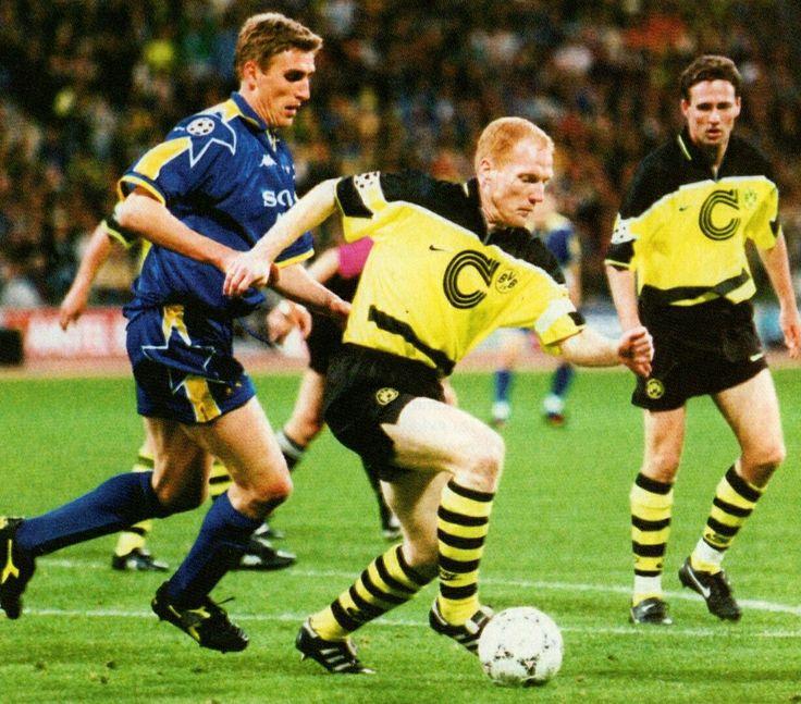 B. Dortmund 3 Juventus 1 in May 1997 in Munich. Matthias Sammer and Alen Boksic in action in the European Cup Final.