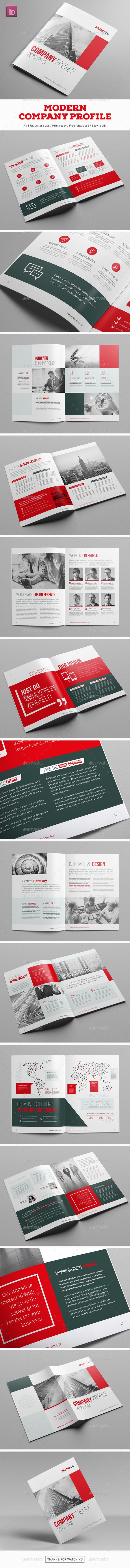 Modern Company Profile Brochure Template InDesign INDD - 20 Pages A4 & US Letter Size