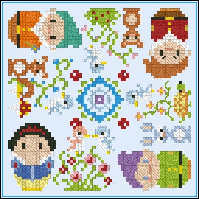 Snow White biscornu - Cross Stitch Patterns - Products