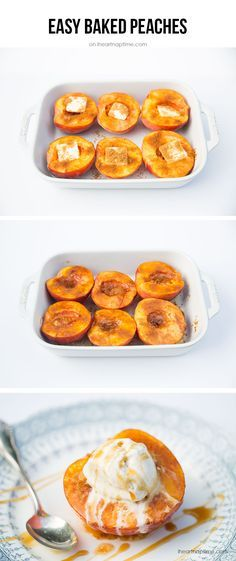 Baked peaches with brown sugar, butter and cinnamon.