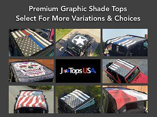 JTopsUSA - Custom Printed Graphic Jeep Wrangler Mesh Shade Tops. Over 2o different configurations.