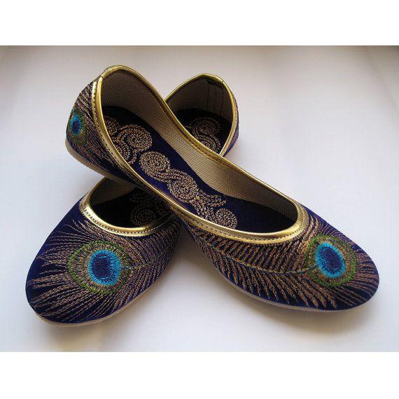 Royal Blue Shoes/Gold Shoes/Blue Flats/Ethnic Shoes/Velvet Shoes/Handmade Indian Designer Women Shoes/Maharaja Style Women Jooties