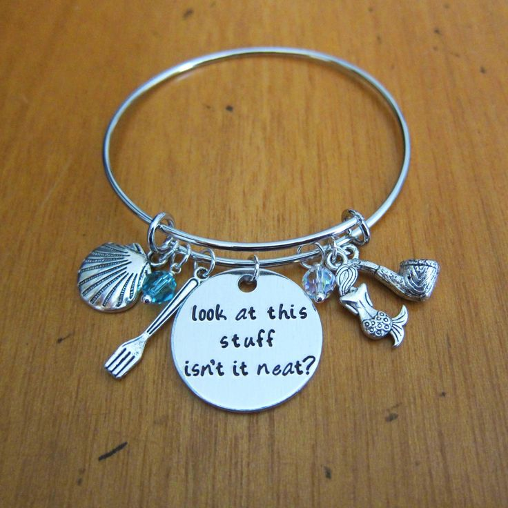 "Little Mermaid Inspired Bangle Bracelet. ""Look at this stuff isn't it neat?"" Charm Bracelet. Ariel Princess Jewelry. Hand Stamped jewelry by WithLoveFromOC (item: 20165231711)"
