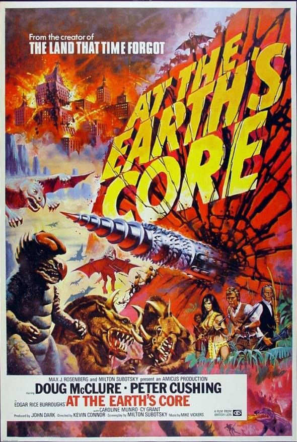AT THE EARTH'S CORE.  I remember seeing this one at a drive-in when I was a kid.