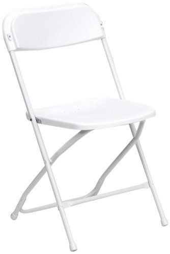 Premium White Plastic Folding Chair By Skyline 800 Lb Compacity   Set Of 10