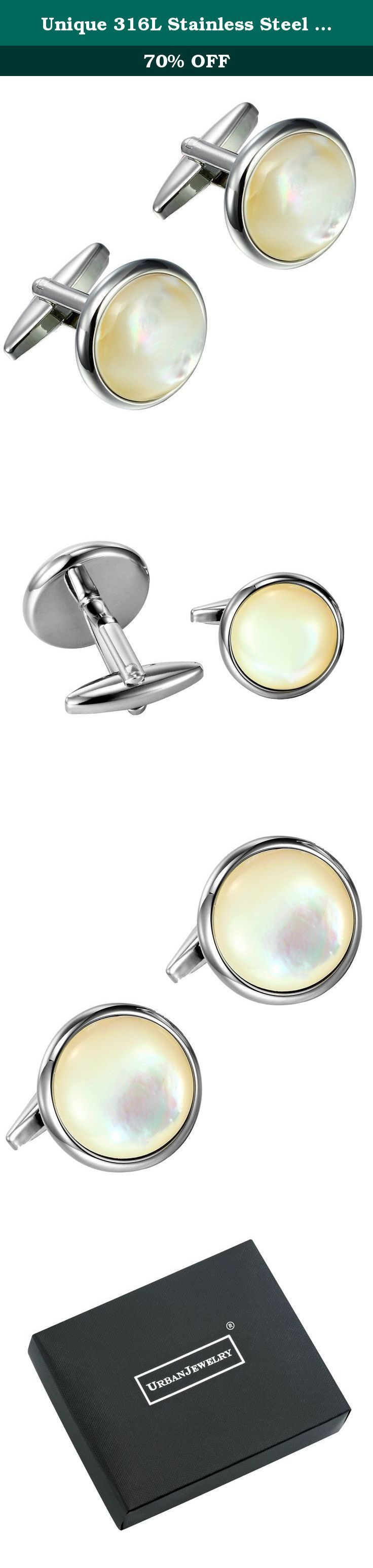 Unique 316L Stainless Steel Men's Round Cufflinks with Real Shell (Silver). Unique 316L Stainless Steel Men's Round Cufflinks with Real Shell (Silver) Why invest in a pair of cufflinks that will only remain in style for a short time? The Urban Jewelry Unique Stainless Steel Men's Round Cufflinks with Real Shell offer a look that is striking but simple enough to always look fashionable, so you'll be able to show them off for years to come. The Urban Jewelry Unique Stainless Steel Men's…