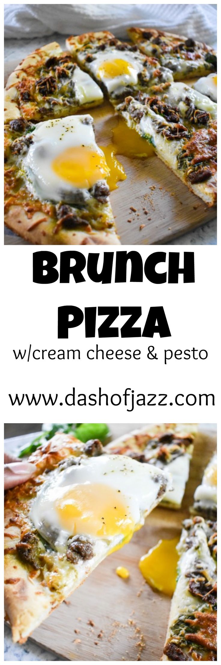 Easy Brunch Pizza with turkey sausage, fried egg, cream cheese, and pesto | Dash of Jazz
