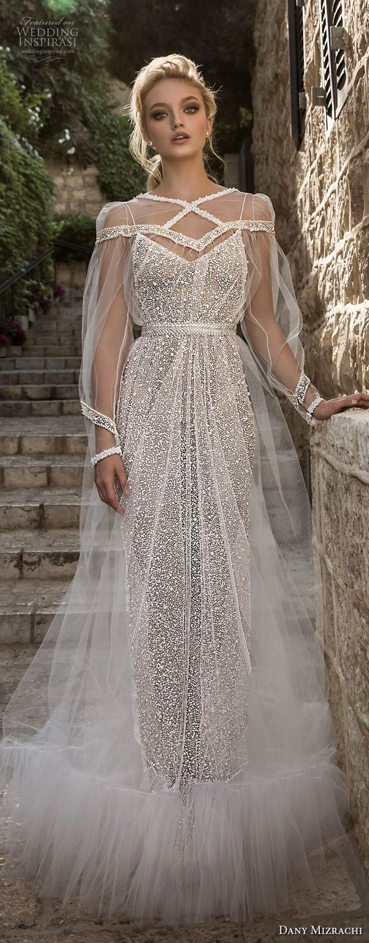 dany mizrachi spring 2018 bridal long sleeves illusion bateau sweetheart neckline full embellishment elegant glamorous sheath wedding dress a line overskirt sweep train (14) lv
