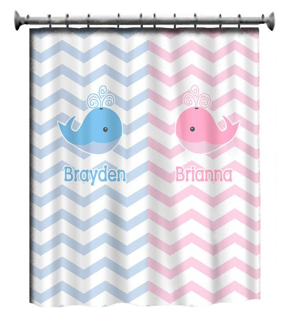 Personalized Shower Curtain - Pink and Blue -Shared Curtain available  Chevron, Zigzag Chevron and Swoops with childrenu0027s theme