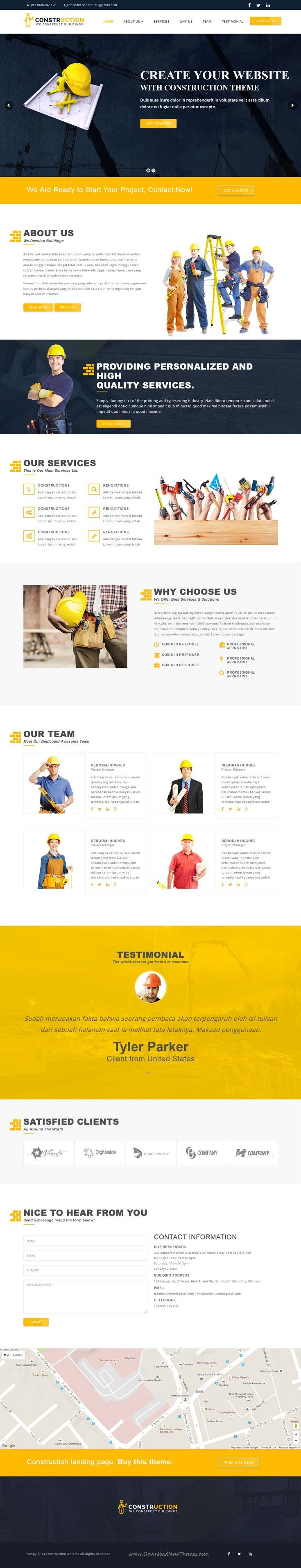 Construction is clean and responsive WordPress Template  for #construction, #renovation, or isolation business #website. Download Now!