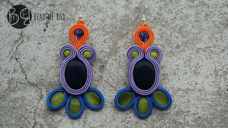 My colorfull soutache earrings :)  sutasz, soutache, earrings, colorfull, orange, blue limo, violet, purpure, green