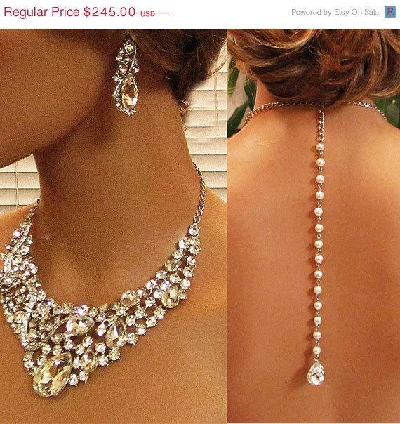 Wedding jewelry set Bridal back drop bib by BijouxandCouture, $171.50 – Tanias wedding