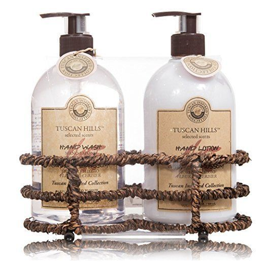 Tuscan Hills French Lavender Hand Wash Gel Body Lotion 16oz Wicker Gift Set 3pcs #TuscanHills