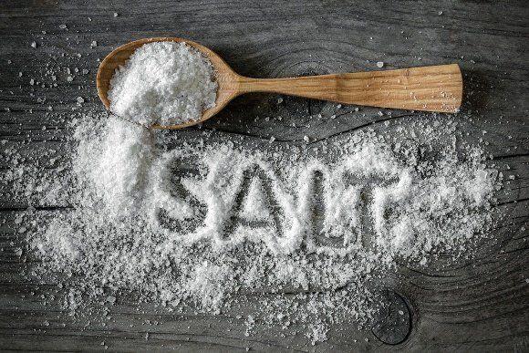 Salt Spread Over Wooden Table